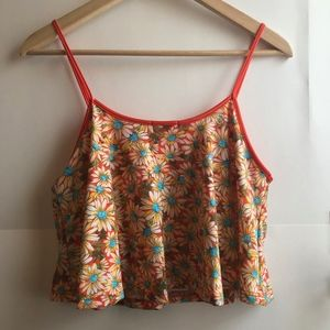 EM Tops - EM Orange White Blue Daisy Floral Crop Top Tank